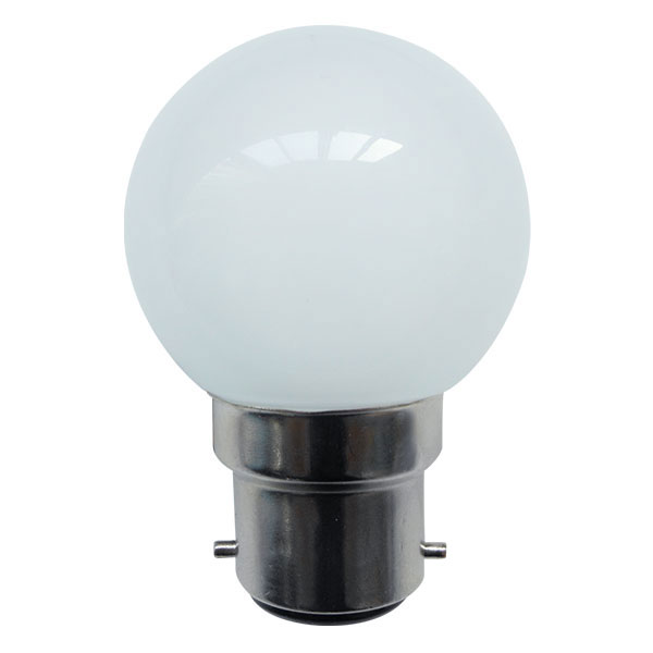 BL LED BALL BC 110V/240V 1W AMBER ND NON DIMMABLE DUAL VOLTAGE