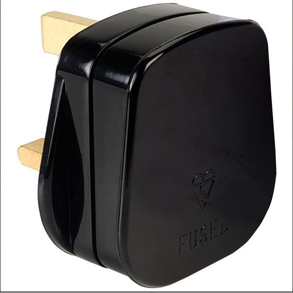 PLUG 13AMP BLACK NYLON