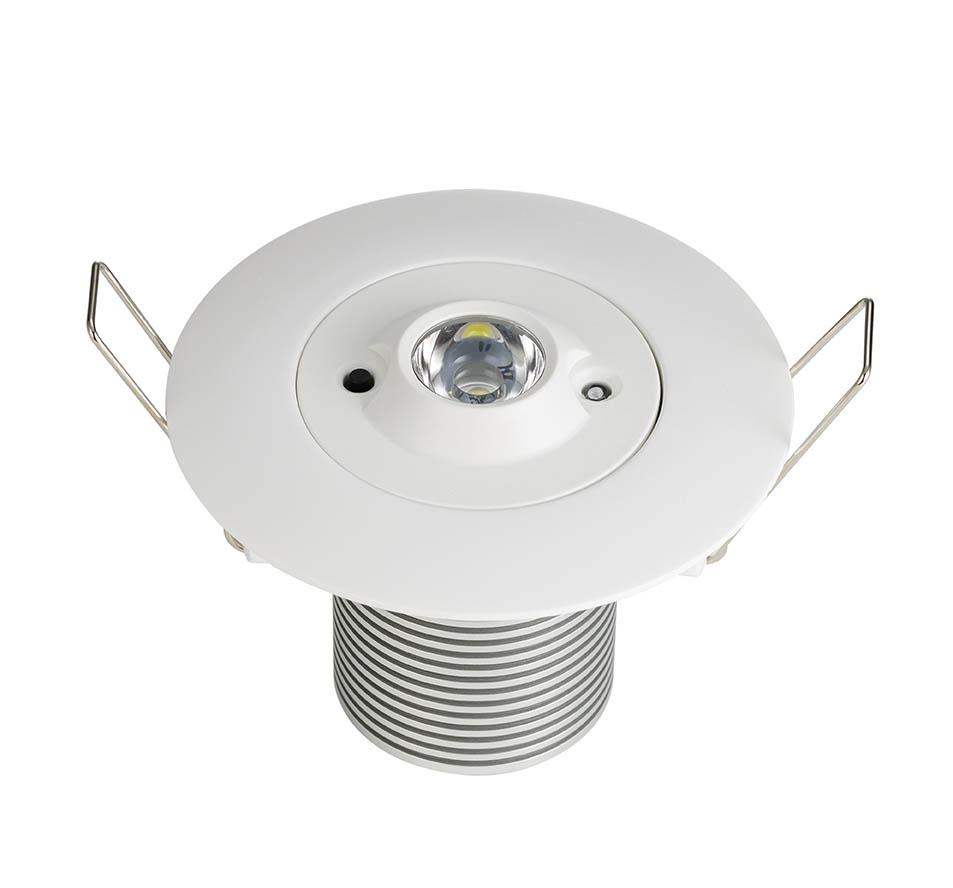 LED EMERGENCY DOWNLIGHT 5W OPEN AREA NM ST RECESSED ROUND OPEN AREA SELF TEST N/MAIN